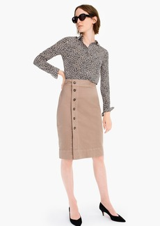 J.Crew Side-button pencil skirt in stretch chino
