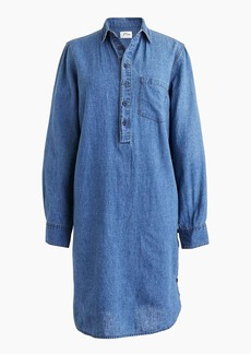Side-button shirtdress in chambray