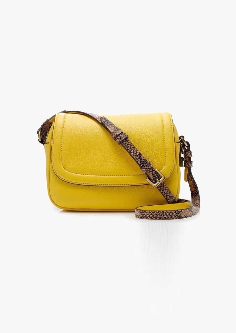 8e505ec5647e J.Crew Signet flap bag with printed strap in Italian leather