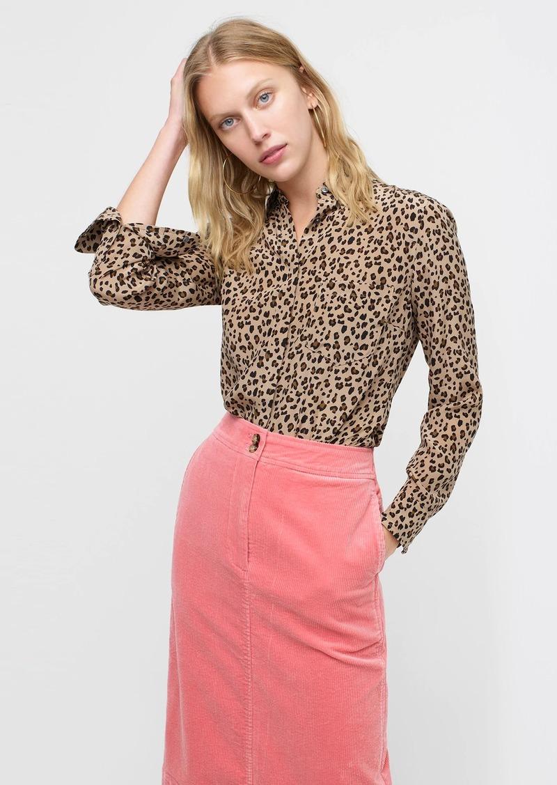 J.Crew Silk button-up shirt in leopard