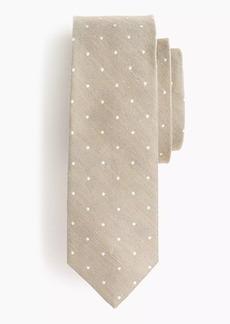 J.Crew Silk-linen tie in dot print