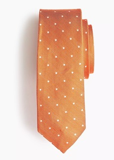 J.Crew Silk-linen tie in dot print