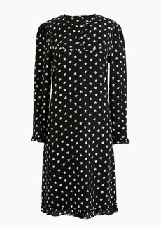 Petite silk long-sleeve dress in star print