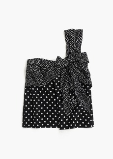 J.Crew Silk one-shoulder bow top in polka dot