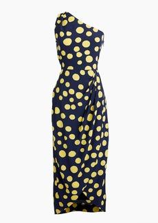 J.Crew Silk one-shoulder dress in polka dot