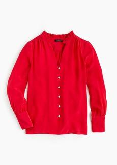 J.Crew Silk ruffle-neck blouse