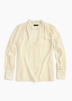 J.Crew Petite silk ruffle-neck blouse in dot