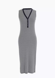 Sleeveless henley midi dress in stripe