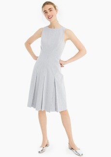 J.Crew Sleeveless pleated A-line dress in stretch seersucker