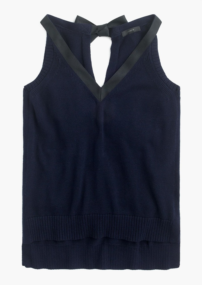 4cebfb2074f28 J.Crew Sleeveless sweater with grosgrain trim Now  15.99