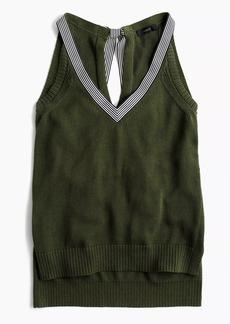 J.Crew Sleeveless sweater with striped grosgrain trim
