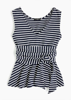 J.Crew Sleeveless tie-waist peplum top in stripe
