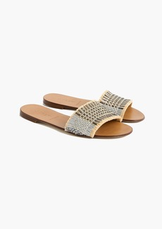 J.Crew Slide sandals in metallic raffia