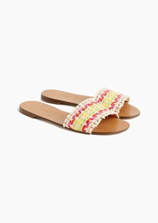 J.Crew Slide sandals in multi-colored raffia