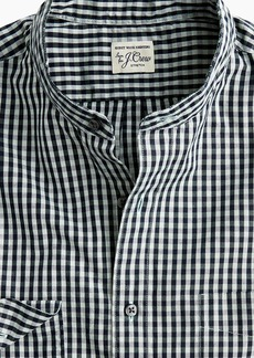 J.Crew Slim stretch Secret Wash band-collar shirt in brown-and-navy gingham