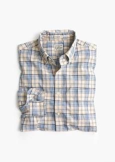 J.Crew Tall stretch Secret Wash shirt in blue and grey plaid