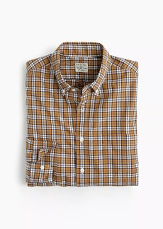 Slim stretch Secret Wash shirt in bronze plaid