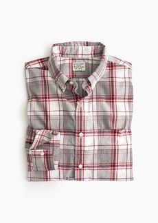 J.Crew Slim stretch Secret Wash shirt in heather poplin grey and red plaid
