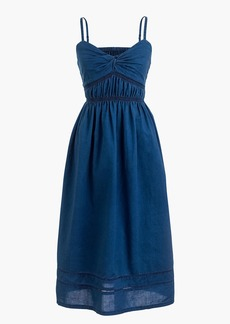 Petite smocked twist-front dress in indigo