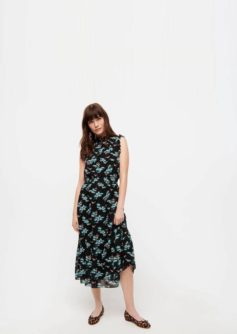 J.Crew Smocked-waist midi dress in botanical bees print