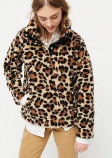 J.Crew Snap-collar sherpa sweatshirt in leopard