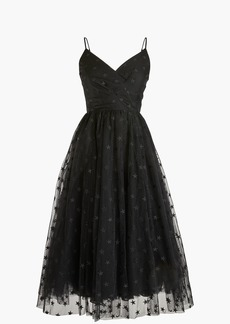 Spaghetti-strap dress in star tulle