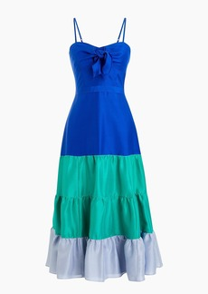 Spaghetti-strap ruffle dress in silk shantung