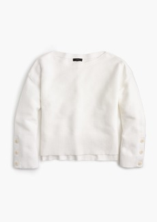 J.Crew Split-hem button-sleeve crewneck sweater