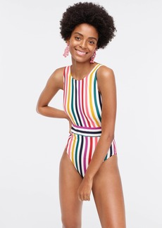 J.Crew Sporty V-back one-piece swimsuit in rainbow stripes