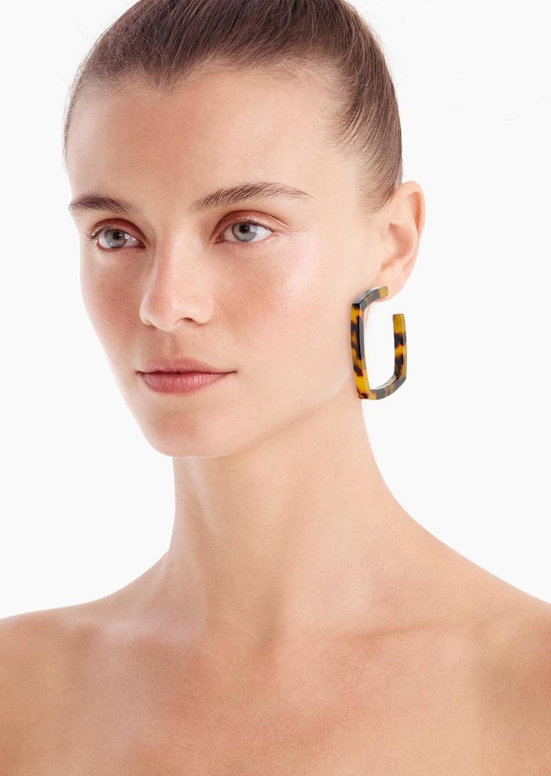 J.Crew Square acetate hoop earrings in tortoise