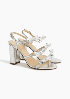J.Crew Stella bow heels (100mm) in metallic silver