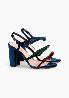 J.Crew Stella bow heels in colorblocked velvet