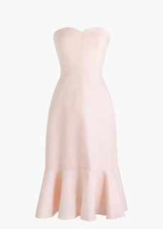 Strapless ruffle-hem dress in faille