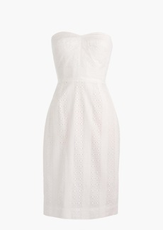 Strapless sheath dress in eyelet