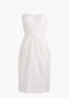 Strapless sheath dress in eyelet