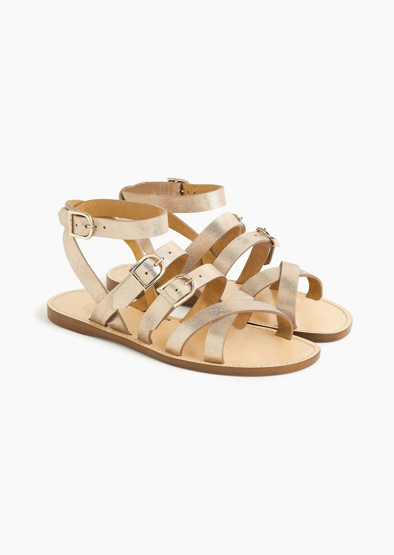 2bd34f1e94d Strappy buckled sandals in metallic gold