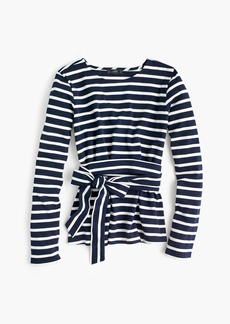 J.Crew Striped belted crossback top