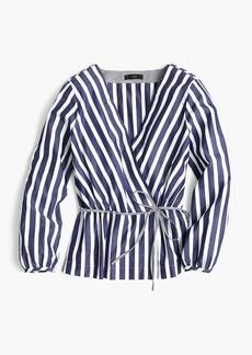 Striped faux-wrap top