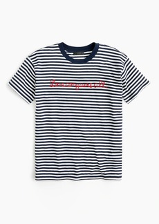 """J.Crew Striped """"love conquers all"""" T-shirt"""