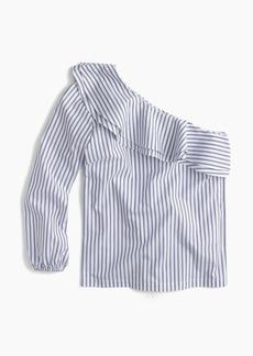 J.Crew Striped one-shoulder ruffle top