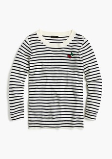 J.Crew Striped Tippi sweater with cherry patch