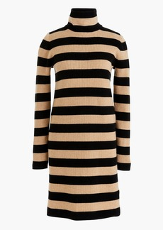 Striped turtleneck sweater-dress