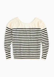 Striped V-back pullover sweater in merino wool