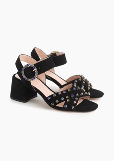 J.Crew Suede Penny sandals with crystals