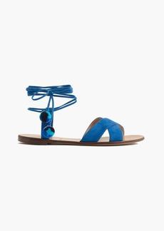 Suede pom-pom sandals