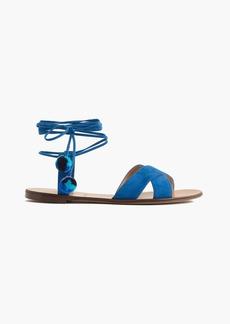 J.Crew Suede pom-pom sandals