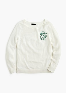 J.Crew Summerweight pullover sweater with embroidered palm leaf