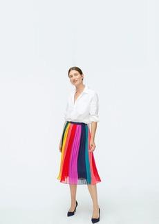 J.Crew Sunburst pleated midi skirt in rainbow colorblock