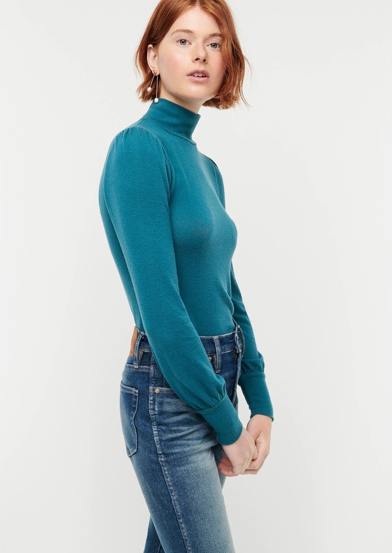 J.Crew Supercozy balloon sleeve mockneck top in TENCEL™ lyocell