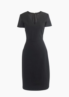 Petite cap-sleeve V-neck dress in Italian stretch wool